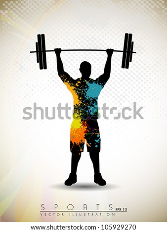 Silhouette of a weight lifter with heavy weight on abstract grunge background. EPS 10. - stock vector