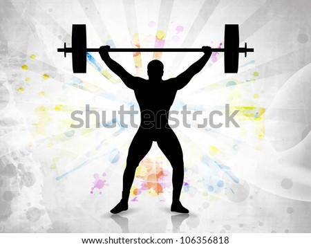 Silhouette of a weight lifter with heavy weight on colorful abstract grunge background. EPS 10. - stock vector