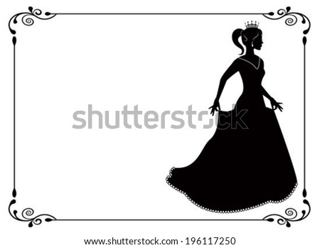 silhouette of a woman in long dress and vintage frame with swirls