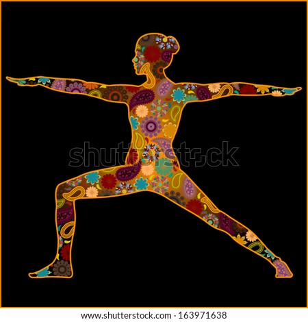 Silhouette of a woman in warrior asana with hindu symbols - stock vector