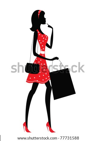 silhouette of a woman. shopping, vintage style - stock vector