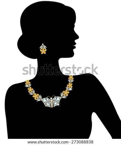 Silhouette of a woman with a diamond necklace and earrings - stock vector