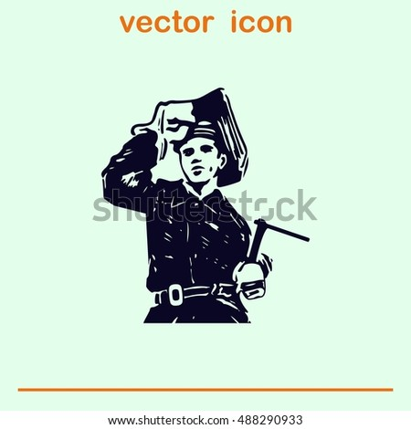 Silhouette of a working welding with a torch icon. Vector illustration.