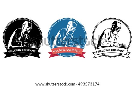 Silhouette of a working welding with a torch. Welding logo Vector illustration.