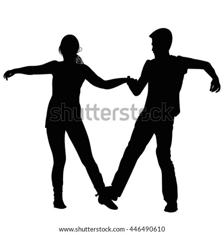 Silhouette of a young couple performing a dance - stock vector