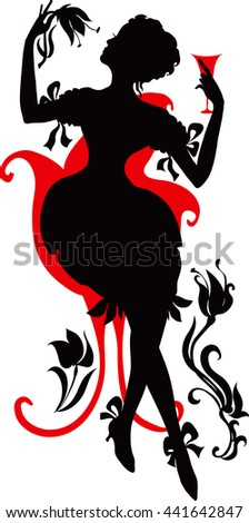 Silhouette of a Young female holding glass of wine