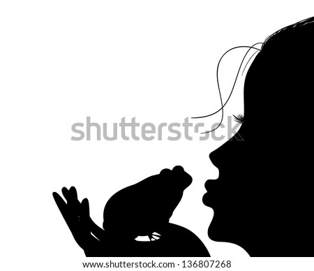 Silhouette of a young girl kisses a frog - stock vector