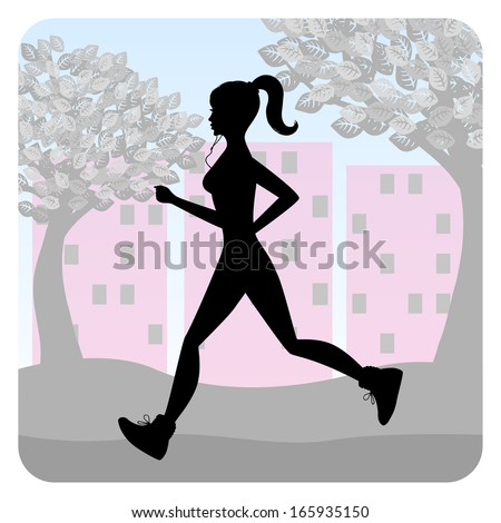 Silhouette of a young girl running in the park  - stock vector