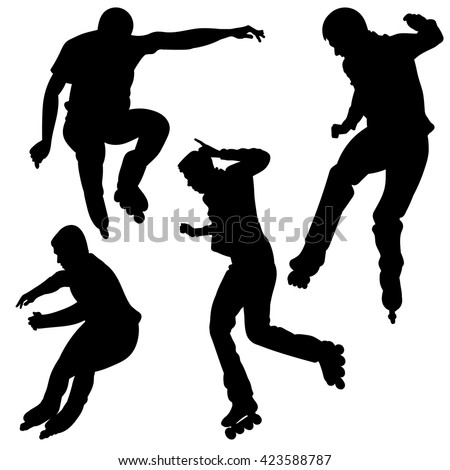 Silhouette of a young man, jumping on roller skates