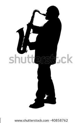 Silhouette of adult male playing a tenor saxophone
