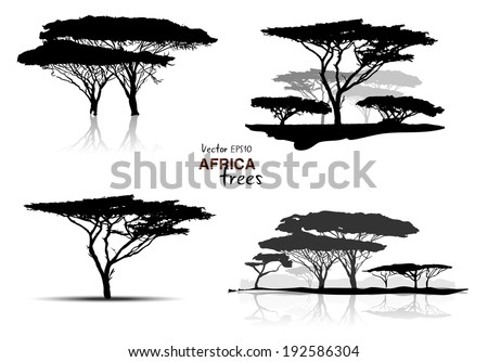 Silhouette of africa trees black on white background, vector illustration - stock vector
