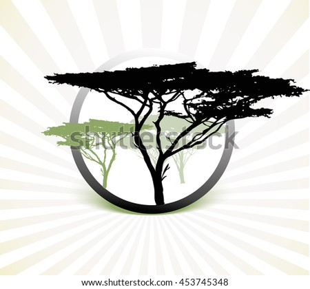 silhouette of africa trees illustration on white striped background
