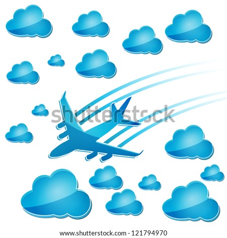 silhouette of airplane in the air with blue clouds