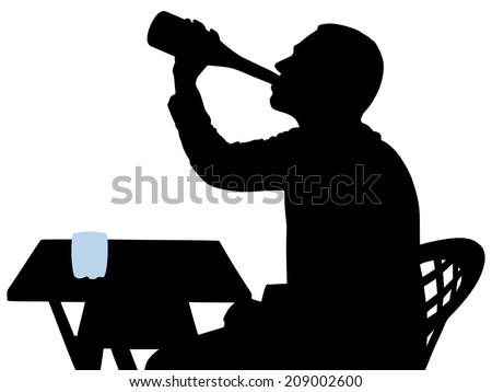 Silhouette of alcoholic drunk man, vector - stock vector