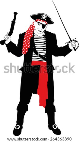 silhouette of an evil pirate captain with arms in black dress with red sash and bandannas - stock vector