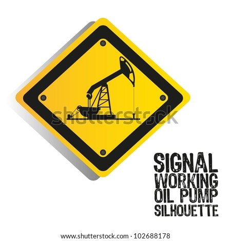 silhouette of an oil pump on a sign, vector illustration - stock vector