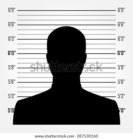 Silhouette of  anonymous man in mugshot or police lineup background - stock vector