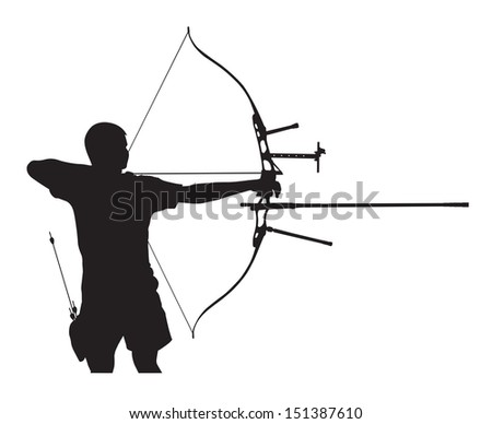 Silhouette of archer stretching the bow and aiming - stock vector