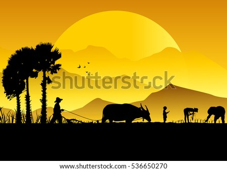 Farmer Silhouette Stock Images Royalty Free Images