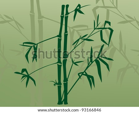 Silhouette of bamboo with shadows behind. - stock vector