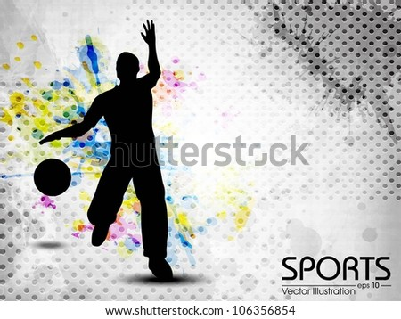 Silhouette of basketball player and ball on grungy colorful abstract background. EPS10 - stock vector