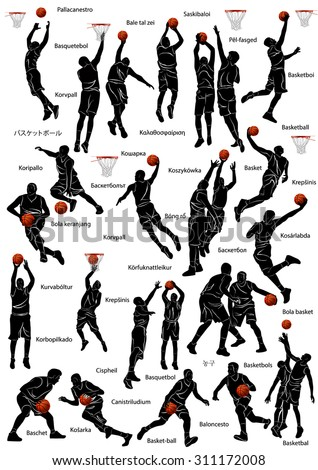 Silhouette of basketball players in action with name of the game written in different languages. - stock vector