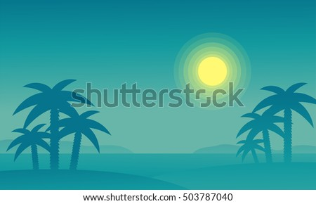 Silhouette of beach and palm at night vector illustration