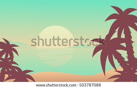 Silhouette of beach at the sunrise vector illustration