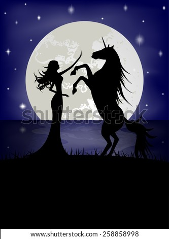 Silhouette of beautiful girl and unicorn  - stock vector