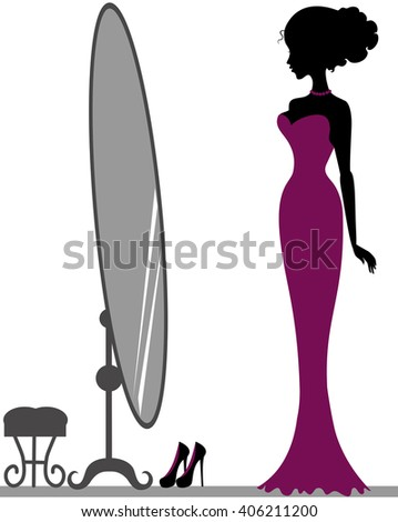 Silhouette of beautiful girl near mirror - stock vector