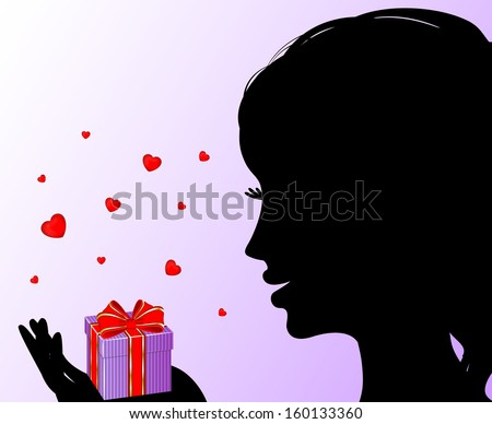 Silhouette of beautiful girl received gift  - stock vector