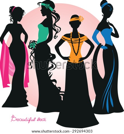 Silhouette of beautiful girls in elegant dresses. Vector illustration. Isolated objects.