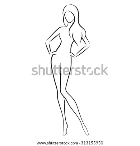 Silhouette of beautiful nude woman, vector illustration. Fashion girl isolated. Beauty logo. - stock vector