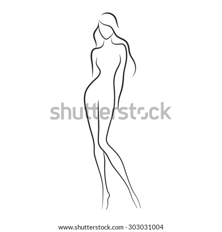 Silhouette of beautiful nude woman vector illustration. Fashion girl with long hair isolated. Beauty logo. - stock vector