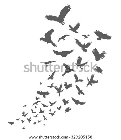 Silhouette of black birds pack on a white background illustration - stock vector
