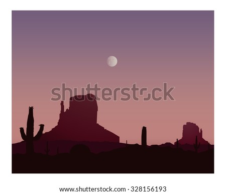 Silhouette of blooming cactuses and western rocks on the background of violet sky.