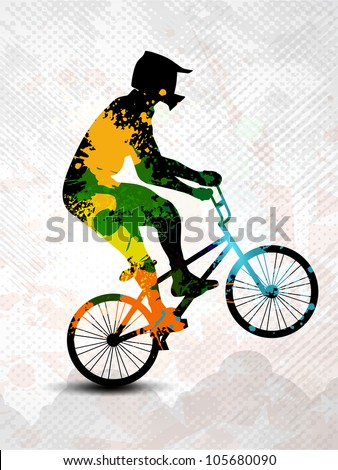 Silhouette of BMX cyclist  with colorful spots and splash on grey grunge background. EPS 10. - stock vector