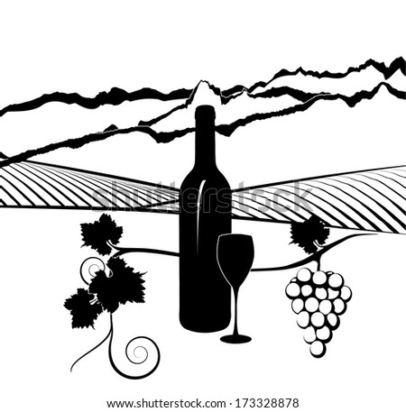 Silhouette of bottle of wine with glass and vineyard in background - stock vector