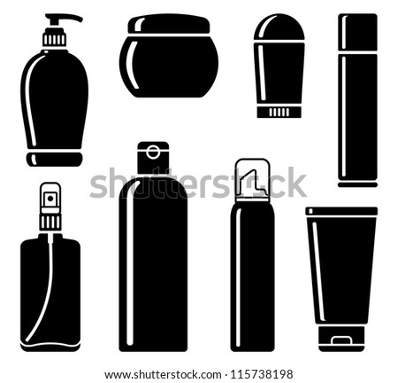 Silhouette of bottles for means on care a body and hair - stock vector
