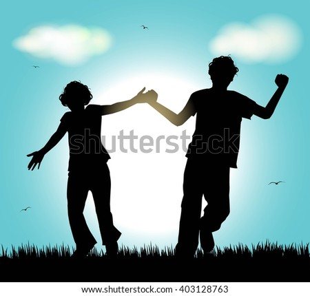 silhouette of boy and girl running in a meadow
