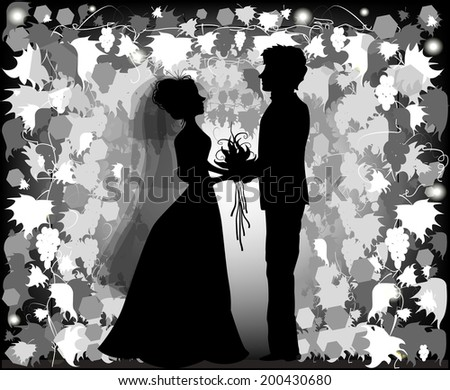 Silhouette of bride and groom - stock vector