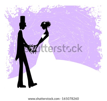silhouette of bride and groom on purple grunge background