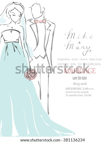Silhouette of bride and groom. Wedding background for invitation. - stock vector