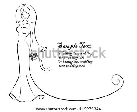 Silhouette of bride, background, wedding invitation, the vector - stock vector