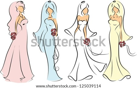 Silhouette of brides for wedding invitation, the vector - stock vector