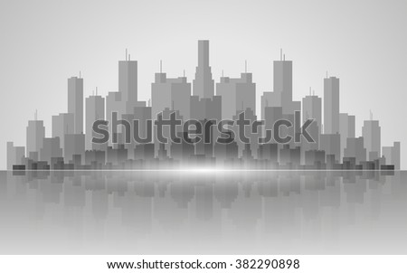 silhouette of buildings,cityscape and water reflection in flat icon design background(vector) - stock vector