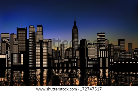silhouette of buildings in new york city downtown with light from windows and water reflection at evening,morning sky