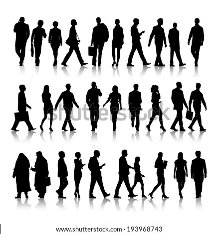 Silhouette of business people commuting.