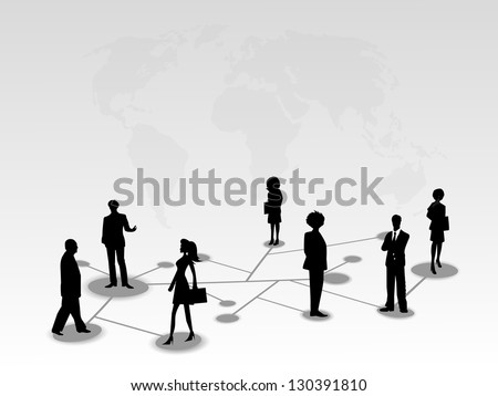 Silhouette of business persons standing on network connections. EPS 10.