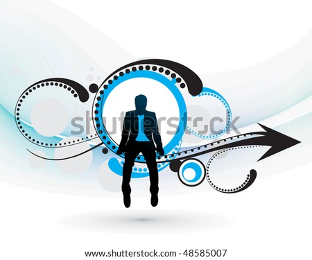 silhouette of businessman sitting in the  floral design arrow. Vector illustration. No mesh in this illustration - stock vector